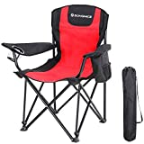 SONGMICS Chaise de Camping Pliable, avec Dossier Haut, Porte-Bouteille et Sac isothermique, Confortable, Structure Durable, Charge Max 250 kg, Chaise d'extérieur, Rouge et Noir GCB10RB