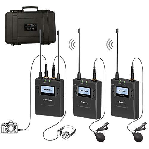 Comica Lavalier Mikrofon System Kamera UHF 96-Kanäle Wireless Dual Kabellos Funkmikrofon Set Ansteckmikrofon Eingebaute Lithiumbatterie CVM-WM300(A) für Interview DV DSLR Canon Sony Nikon Panasonic -