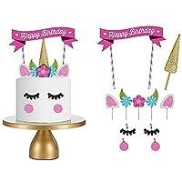 1 Set Unicorn Birthday Cake Topper Flower Eyelashes Happy Birthday Party Cake Decor Set Handmade Baby Children Party Decoration