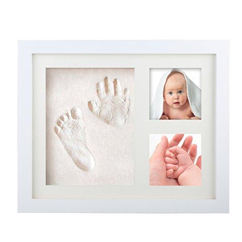 Baby Bilderrahmen Fotoalbum ,Tatuer Baby Deko Holzbilderrahmen für Handabdruck und Fussabdruck - Mit Geschenk Box - Ungiftiger Ton -Weihnachtsgeschenke für Neugeborene,Babyparty Taufe