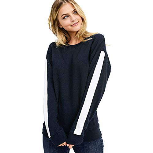 MRULIC Damen Extrem Weiches Fleece Taping Sweatshirt mit Rundhalsausschnitt Damen Schwarz T-Shirt Pullover Oberteile