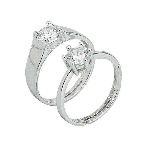 Accessorisingg 925 Silver Plated Solitaire Love Band Couple Ring (Adjustable Size) For Unisex [RG059]