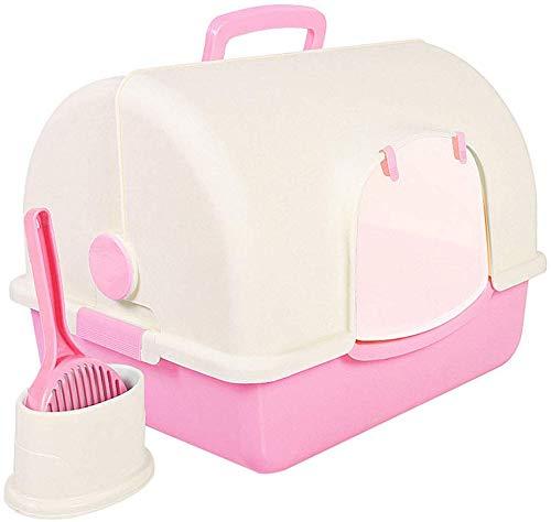 YLCJ Katzentoilette mit Kapuze geschlossene Toilette Katzentoilette mit Sandwaschbecken und Klappentürpfanne Pet Training System Deodorant Loo Leicht zu reinigen Rosa -