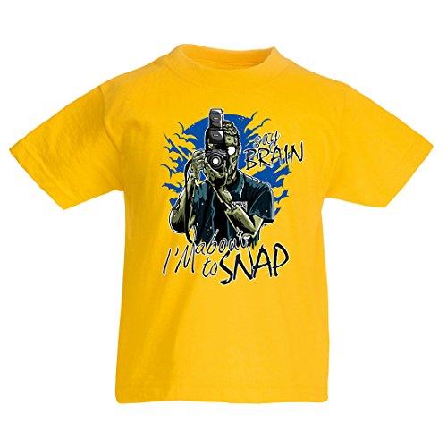 en/Mädchen T-Shirt Zombie-Fotograf, Journalisten Bekleidung, Fotografie-Experten, Humorvolles Geschenk (9-11 Years Gelb Mehrfarben) (Blutungen Bei Mädchen)