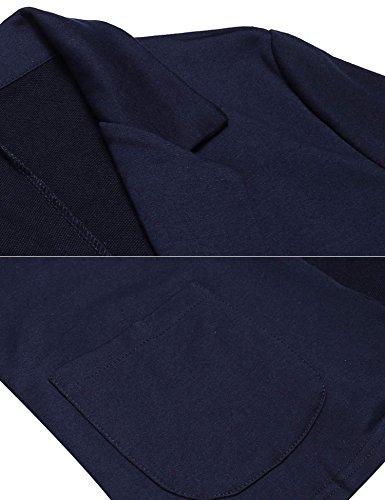 Meaneor Damen Blazer Cardigan Kurzjacke Lange Arm mit Taschen Gr.S-XXXL Marineblau
