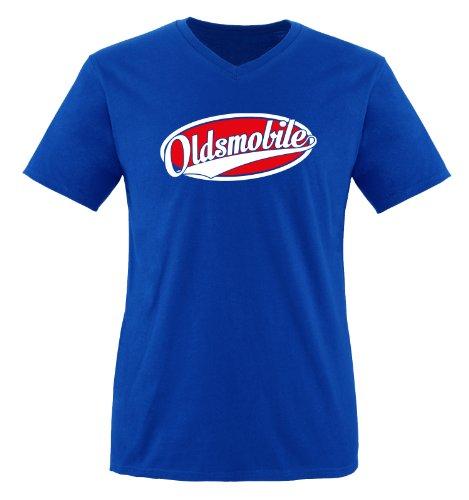 Oldsmobile - Zweifarbig - Herren V-Neck T-Shirt - Royalblau/Weiss-Rot Gr. M