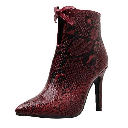 VECDY Schuhe Damen Boots Mode Stiefel Schlange Gemalt Sexy Spitzen Zehen Bogen Pfennigabsatz Lässige Booties Stiefeletten 35-40 -