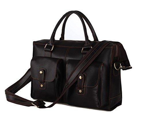 Everdoss Hommes sac à main en cuir sac de messager sac d'épaule sac à bandoulière sac d'affaires sac de business café foncé