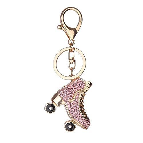 Hoveey Schlüsselanhänger, Schlüsselschnalle, Rollschuh-Design, Strasssteine, für Handtaschen, Auto