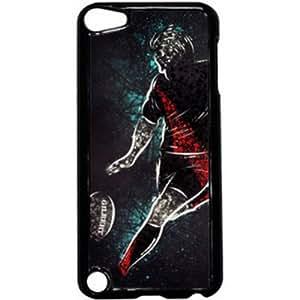 coque étui housse personnalisée noir déco rugby art ipod touch 5