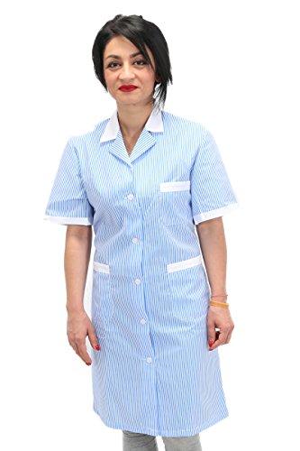 Petersabitidalavoro camici da lavoro donna imprese di pulizia operaia domestica cameriera ai piani (m=46-48, righe azzurre)