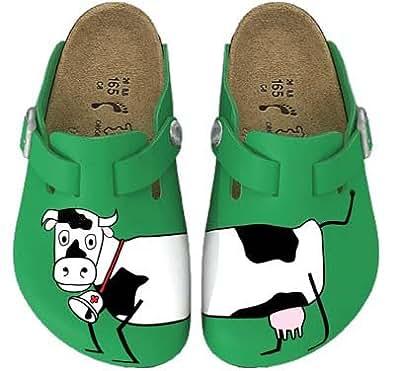 BIRKIS Woodby Sabots Birko-Flor, Cow Green Background, Taille 29 avec semelle ètroite