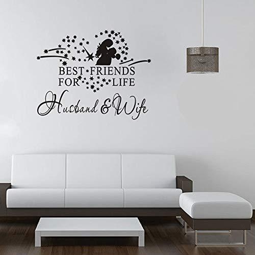 Geschnitzte Herzform Freunde für Das Leben Wandaufkleber romantische Paar Stil dekorative Wandaufkleber