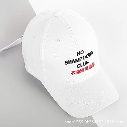 zhuzhuwen Hut weiblich Frühjahr Neue Kappe Nicht Shampoo Club schwarz weiß Flut Marke Männer Schatten Brief Baseballmütze 2 56-62cm