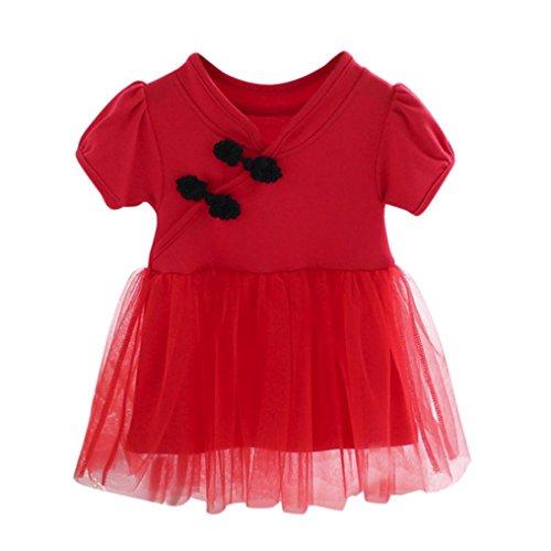 TWIFER Baby Mädchen Infant Kleinkind Chinesische Spitze, Tutu Kleidung Party Prinzessin Kleid (Kleinkind-mädchen-kleid-schuhe Elfenbein)