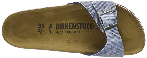 BIRKENSTOCK Unisex-Erwachsene Madrid Birko-Flor Pantoletten Blau (Used Jeans Blue)
