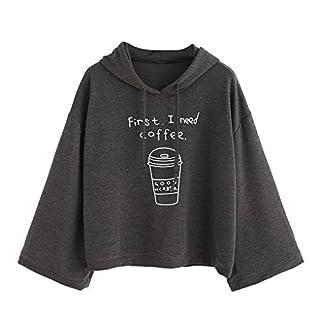 Amcool First I Need Coffee Pullover Damen Oversize Letter Print Sweatshirt Kapuzenpullover Hoodie (Kleine asiatische Größe:S, Grau)