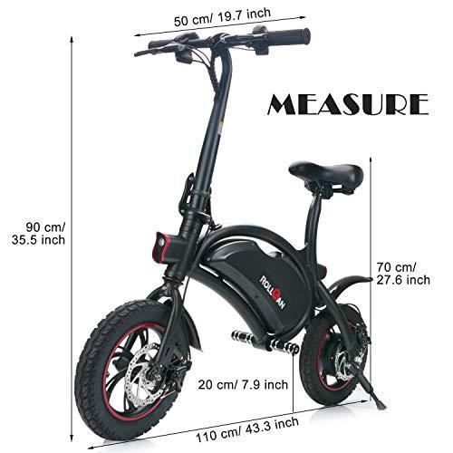 ROLLGAN Elektrofahrrad 12 Zoll Faltbares E-Bike Roller mit App Geschwindigkeitseinstellung,E-Faltrad,36V 250W Heckmotor,mechanische Scheibenbremsen,Schnelle Aufladung,Schwarz