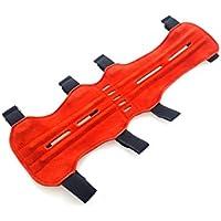 Protector de brazo para tiro con arco, piel de ante de calidad, suave, rojo
