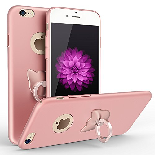 Iphone 7 Case , Koala group® Creative Phone case with the Lovely cat head ring bracket Case Cover For iphone 7 (4.7-inch) (Tyrant gold) Rose gold