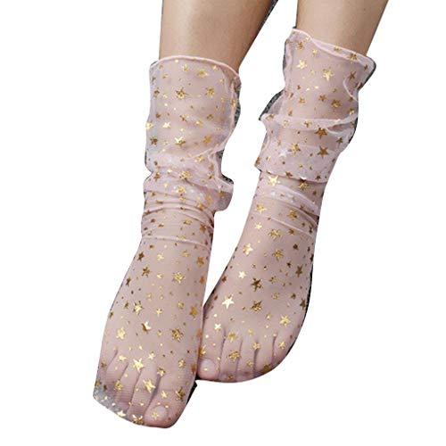 fish Mädchen Frühling Nylon Glitter Stars Mesh-Socken-Frauen-transparenter Sheer Thin Ankle Verbandsmull Strümpfe -