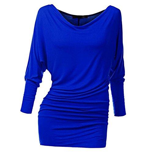 Kleid Casual-hosen (Damen Schulterfreies Top Longshirt Fledermaus Tunika Einfarbig Minikleid Langarm Schlägerhemd Arbeit Büro Casual Party Kleid Blusen Weich Bequem 16 Farben S-2XL)