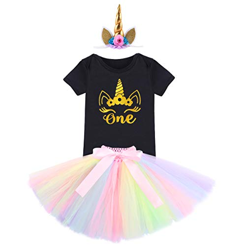 29c81ab749fb7 FYMNSI Baby Girl Unicorn First Birthday Cake Smash Outfit Glitter Golden  One Floral Short Sleeve Romper