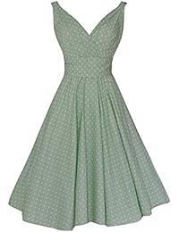 Traje de neopreno para mujer 1524 cm s diseño Retro de verde Pastel diseño de lunares Full algodón diseño de vestido de fiesta e instrucciones para…