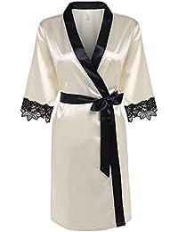 Bata Mujer Bata De Seda Bata De Casuales Mujeres Baño Albornoz Satén Corto Kimono Chemise Satén