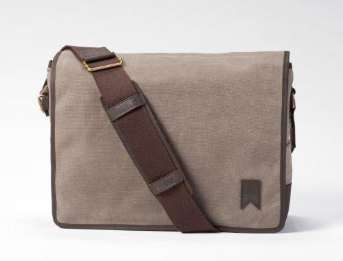 Navali Mainstay Laptop Umhängetasche Messenger Bag aus gewachstem Segeltuch mit Leder - Steingrau