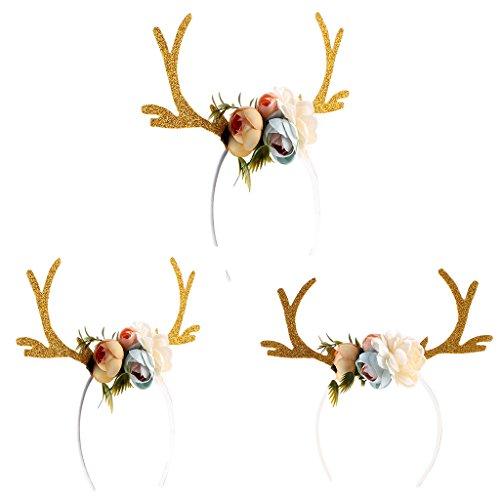 hsene Scherzt Weihnachtsrotwild-Geweihe-Kostüm-Ohr-Partei-Haar-Stirnband-Stütze (Ohr-kostüm)