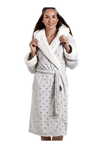 Robe de chambre ultra douce col effet fourrure de phoque gris 46/48