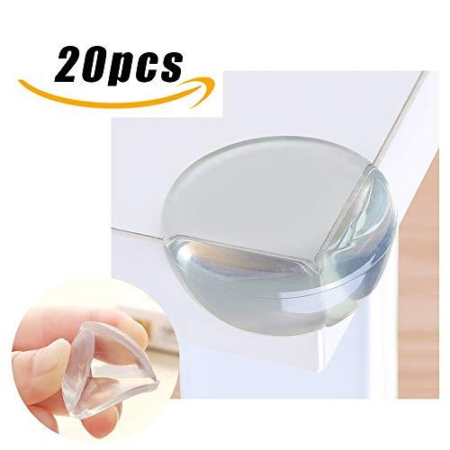 20 Pièces Coin de Table Protection Bebe Transparent, Niviy Coin Protecteur Table pour Bébé, Protection Angle de Table Silicone avec Résistant Adhésifs