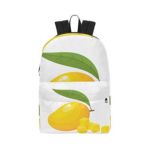 Reife gelbe Mango Frucht Klassische Nette Wasserdichte Laptop Daypack Taschen Schulkausal Rucksäcke Rucksäcke Bookbag für Kinder, Frauen und Männer Reisen mit Reißverschluss und Innentasche