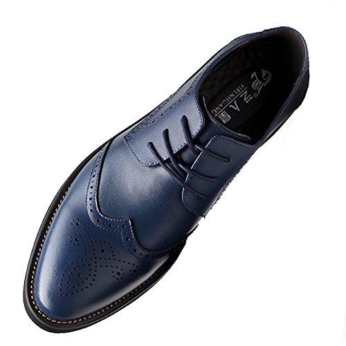 Yirenhuang uomo elegante punta pelle scarpe da sera attività commerciale nozze scarpe brogue blu marino p110 eu42