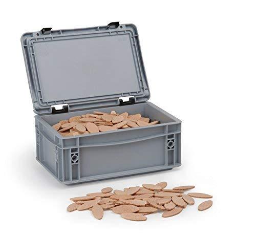 Flachdübel Größe 10 von WFix | 500 Stück | Dübel in Aufbewahrungsbox | Passend mit Dübelfräse & Lamellofräse | Holzdübel wie Lamello 10
