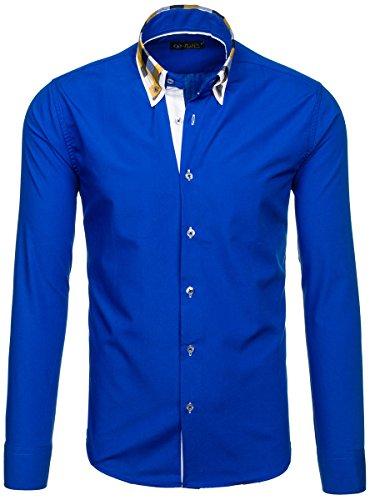 BOLF Mens chemise en casual shirt hommes Scène Slim Fit Classique 2B2 Bleuet
