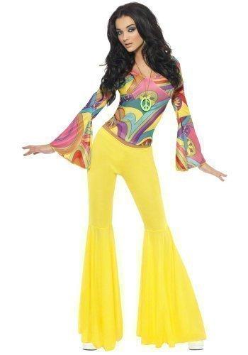 re 70s Jahre Groovy Babe Hippie ausgestellt Kostüm Kleid Outfit - Multi, 12-14 (Babe Sexy Kostüme)