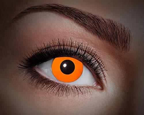 Zoelibat UV farbige Kontaklinsen für 12 Monate, 2 Stück, BC 8.6 mm / DIA 14.5 mm, Jahreslinse in Markenqualität für Halloween, Fasching, Karneval, Flash orange