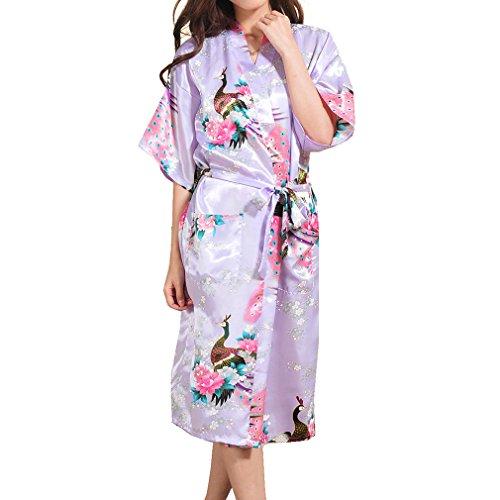 Yying Femmes Soie Satin Robe De Robe Long Kimono Fleurs De Paon Mariée Demoiselle d'honneur Kimonos Robe De Nuit