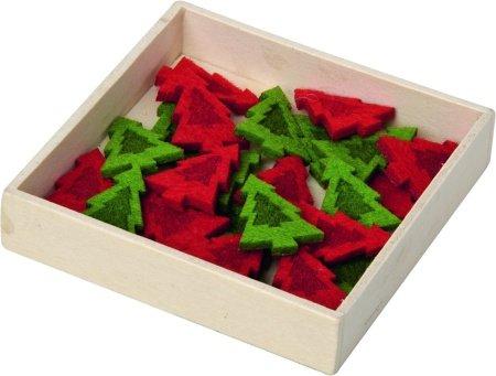 Decoración esparcir por la para mesa (fieltro), diseño de árbol de Navidad, color rojo y verde width=