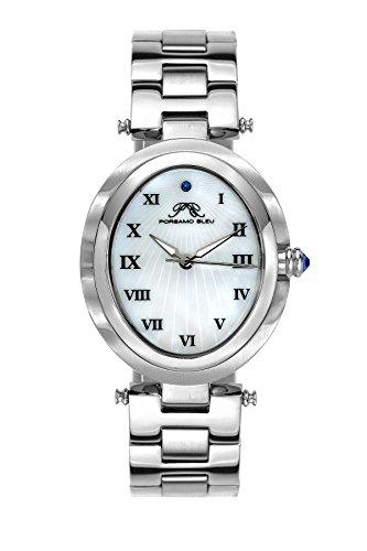 Porsamo Bleu South Sea Oval Rostfreier Stahl Silber Tönung Damen-Armbanduhr 105Esso