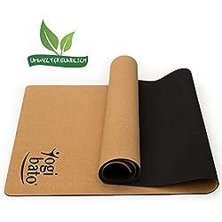 Yogibato Yoga-Matte aus Kork & Naturkautschuk [183 x 61 x 0,4 cm] - Korkmatte mit Tragegurt - Rutschfest & schadstofffrei - Pilates Gymnastik Meditation Training