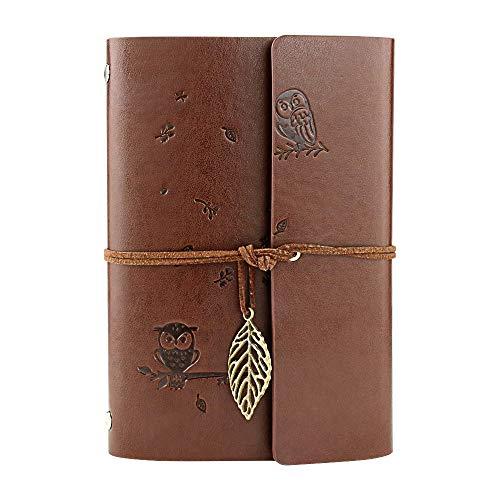 VEESUN Libreta Bonitas Hojas Blancas Cuaderno de Viaje Bloc Notas Cuero Vintage entre A6-A5, Regalo Originales Navidad San Valentín Cumpleaños Aniversario Boda para Mujer, Búho