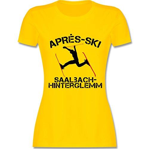 Après Ski - Apres Ski Saalbach Hinterglemm - tailliertes Premium T-Shirt mit Rundhalsausschnitt für Damen Gelb