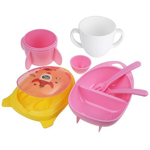 Lictin Geschirr Set Kinderteller Teller Löffel Schale Gabel Tasse BPA-Freie Tragbares Design für Babys ab 10 Monaten Mädchen