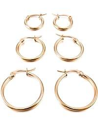 MunkiMix 15mm 20mm 25mm Acero Inoxidable Aro Hoop Huggie Pendientes Plata Oro Dorado Rosa Oro Tres Tono Conjunto Set ( 3 Coppiaes )