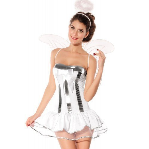 Sexy Kostüm Halo - Damen 4 Stück weiß Weihnachten Krippenspiel Weihnachten Sexy Engel + Wings & Halo Kostüm Kleid Outfit UK 8-10-12
