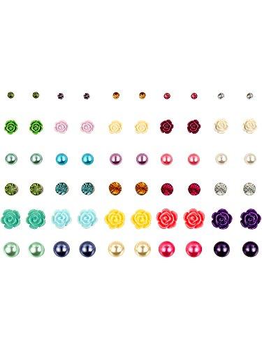 Juego de Pendientes de Perno de Bola Multiples Pernos de Orejas Piercing de Flor Diamantes Perlas Falsas para Mujeres y Chicas, Colores Variados