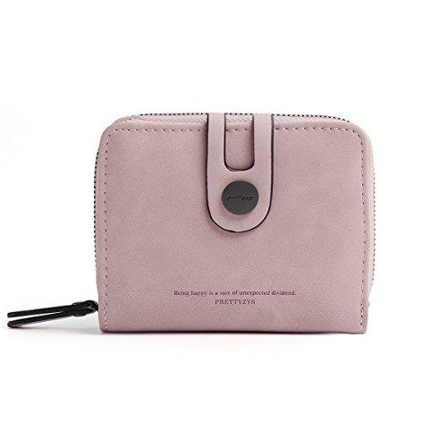 OURBAG Damen Klein Kurz Leder Geldbeutel RFID Schutz Münzbörsen Geldbörsen Kartenetui Reißverschluss Hellrosa